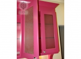 <p> Pink Girl's Desk Doors with Textured Inserts</p>
